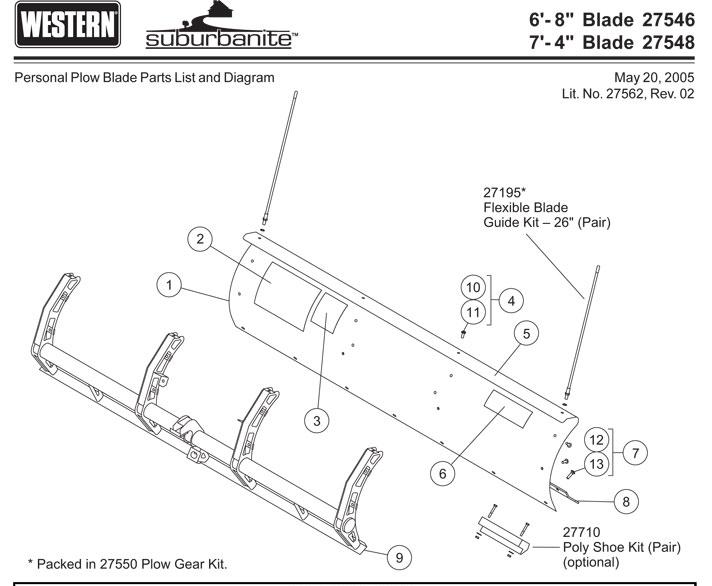 Western Suburbanite Plow Blade Parts